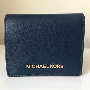 Michael Kors Jet Set Flap Card Holder Navy Wallet